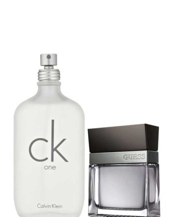 Bundle for Couples: CK One (White) for Men and Women (Unisex), edT 200ml by Calvin Klein + Seductive for Men, edT 100ml by Guess