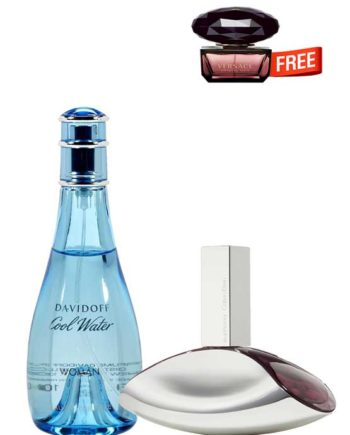 Bundle for Women: Cool Water for Women, edT 100ml by Davidoff + Euphoria for Women, edP 100ml by Calvin Klein + Crystal Noir Miniature for Women, edT 5ml by Versace