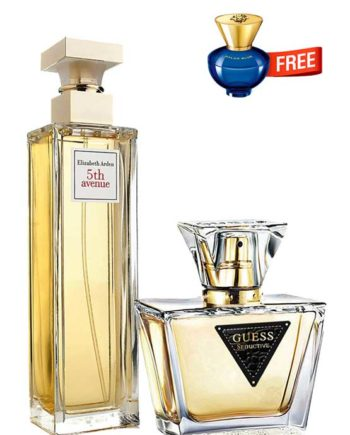 Bundle for Women: 5th Avenue for Women, edP 125ml by Elizabeth Arden + Seductive for Women, edT 75ml by Guess + Dylan Blue pour Femme Miniature for Women, edP 5ml by Versace Free!