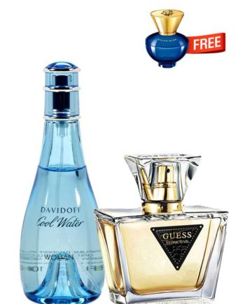 Bundle for Women: Cool Water for Women, edT 100ml by Davidoff + Seductive for Women, edT 75ml by Guess + Dylan Blue pour Femme Miniature for Women, edP 5ml by Versace Free!