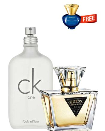 Bundle for Women: CK One (White) for Men and Women (Unisex), edT 200ml by Calvin Klein + Seductive for Women, edT 75ml by Guess + Dylan Blue pour Femme Miniature for Women, edP 5ml by Versace Free!