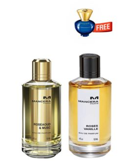 Bundle for Women: Mancera Rose Aoud &Musc - edP 120ml [Unisex] by Mancera + Roses Vanille for Women, edP 120ml by Mancera + Dylan Blue pour Femme Miniature for Women, edP 5ml by Versace Free!