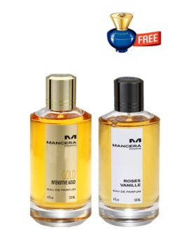 Bundle for Women: Gold Intensitive Aoud for Men and Women (Unisex), edP 120ml by Mancera + Roses Vanille for Women, edP 120ml by Mancera + Dylan Blue pour Femme Miniature for Women, edP 5ml by Versace Free!