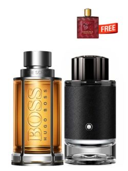 Bundle for Men: The Scent for Men, edT 100ml by Hugo Boss + Explorer for Men, edP 100ml by Mont Blanc + Eros Flame Miniature for Men, edP 5ml by Versace Free!