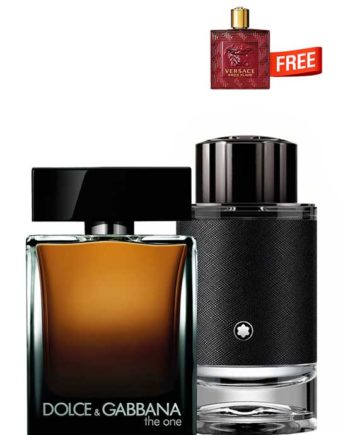 Bundle for Men: The One for Men, edT 100ml by Dolce and Gabbana + Explorer for Men, edP 100ml by Mont Blanc + Eros Flame Miniature for Men, edP 5ml by Versace Free!