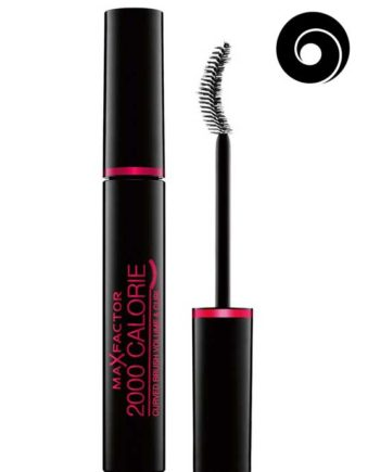 Black - 2000 Calorie Curved Brush Volume and Curl Mascara, 9ml (upto 300% more volume. Smudgeproof) by Max Factor