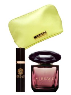Crystal Noir Gift Set for Women (edT 90ml + Spray Sac + Yellow Pouch) by Versace