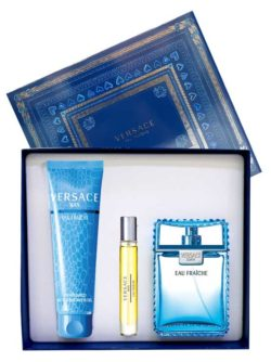 Eau Fraiche Gift Set for Men (edT 100ml + Perfumed Bath and Shower Gel 150ml + edT 10ml Travel Spray) by Versace